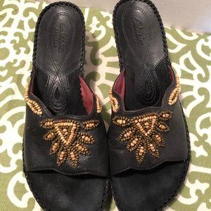 Clarks Artisan Black Leather Beaded Wedges